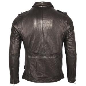 Image 2 - 100% עור כבש שזוף עור מעיל רך Slim סגנון גברים אמיתי עור מעילי גברים של עור מעיל בגדי אביב סתיו M459