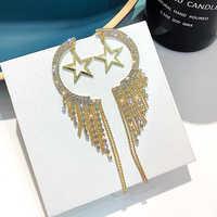 Trendy cyrkonia kolczyki wiszące w kolorze złota długie kutas gwiazdy księżyc kolczyki Rhinestone dla kobiet spadek kolczyki biżuteria