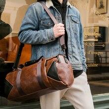 シャオ。1080p送料無料レトロ茶色のバケット旅行バッグ大狂気の馬puレザービジネスショルダーバッグ男性ジムバッグ