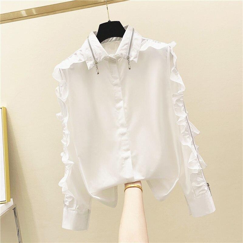 Zipper Collar Ruffles White Women Shirts 2020 Summer New Solid Loose Office Lady Elegant Shirts Outwear Coat Tops