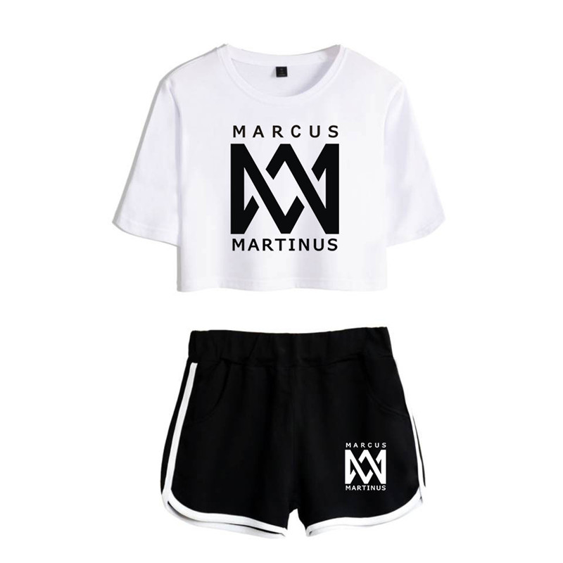 2019 Women Two Piece Set Marcus & Martinus Tracksuit Women Top And Shorts Outfits Set Girl Fans Marcus Martinus Suit
