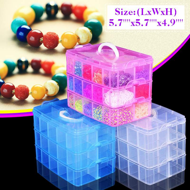 18Slots Jewelry Box Storage Plastic Craft Storage BoxStackable Jewellery Tool Container Clear Plastic 3 Layer
