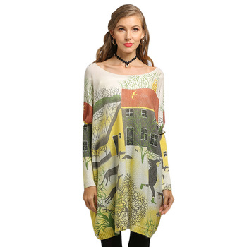 Printed Collar Pullover Large Size Sweater Women's Loose Wear Knitwear Top Long Sleeve Yarn Knit Cashmere