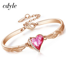 Cdyle Luxury Brand Jewelry Angel Wings Rose Gold Bracelet Crystal Pink Heart Charm Bangles for Women Accessories(China)
