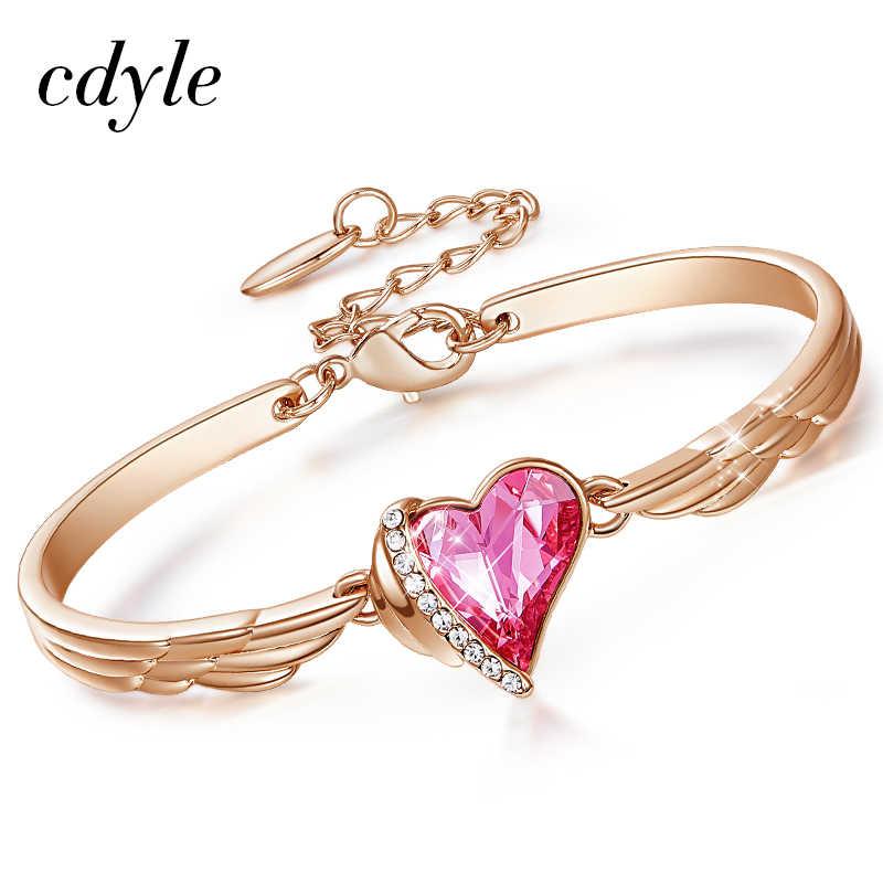 Cdyle יוקרה מותג תכשיטי מלאך כנפי עלה זהב צמיד קריסטל ורוד לב קסם בשביל נשים אבזרים