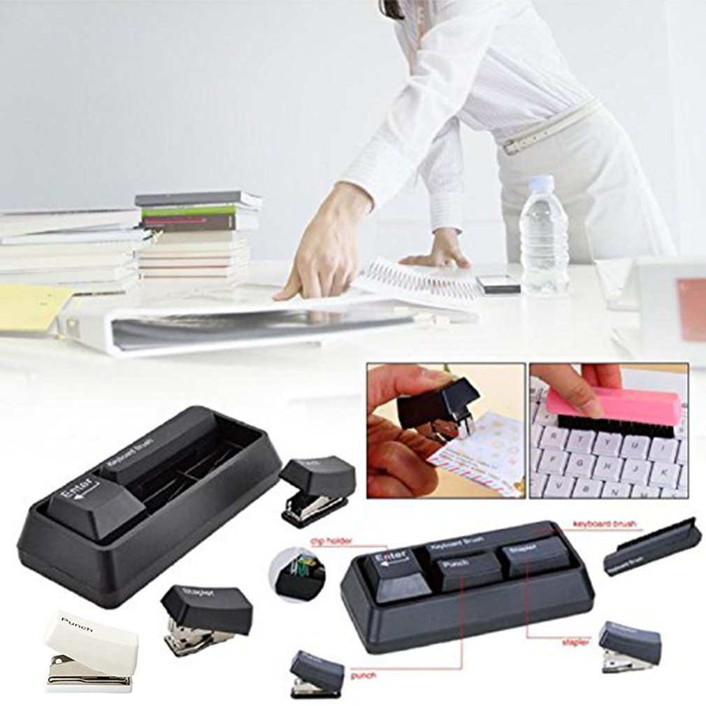 Япония и Южная Корея канцелярские принадлежности Форма зажим для бумаги магнит+ удар+ степлер+ клавиатура щетка канцелярские товары офисные школьные принадлежности