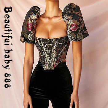 2020New summer Elegant Square Collar Jacquard Boned Bustier Crop Tops Shirt Puff Sleeve Sexy Backless Zipper Shirts Blouse Women