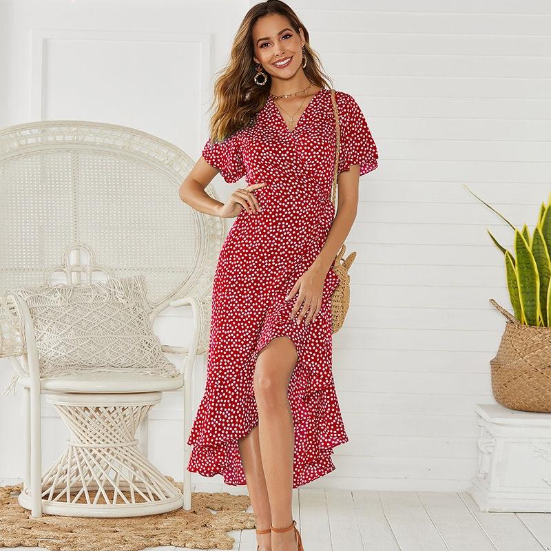Summer Beach Maxi Dress Women Floral Print Boho Long Chiffon Dress Ruffles Wrap Casual V-Neck Split Sexy Party Dress Robe Femme 5