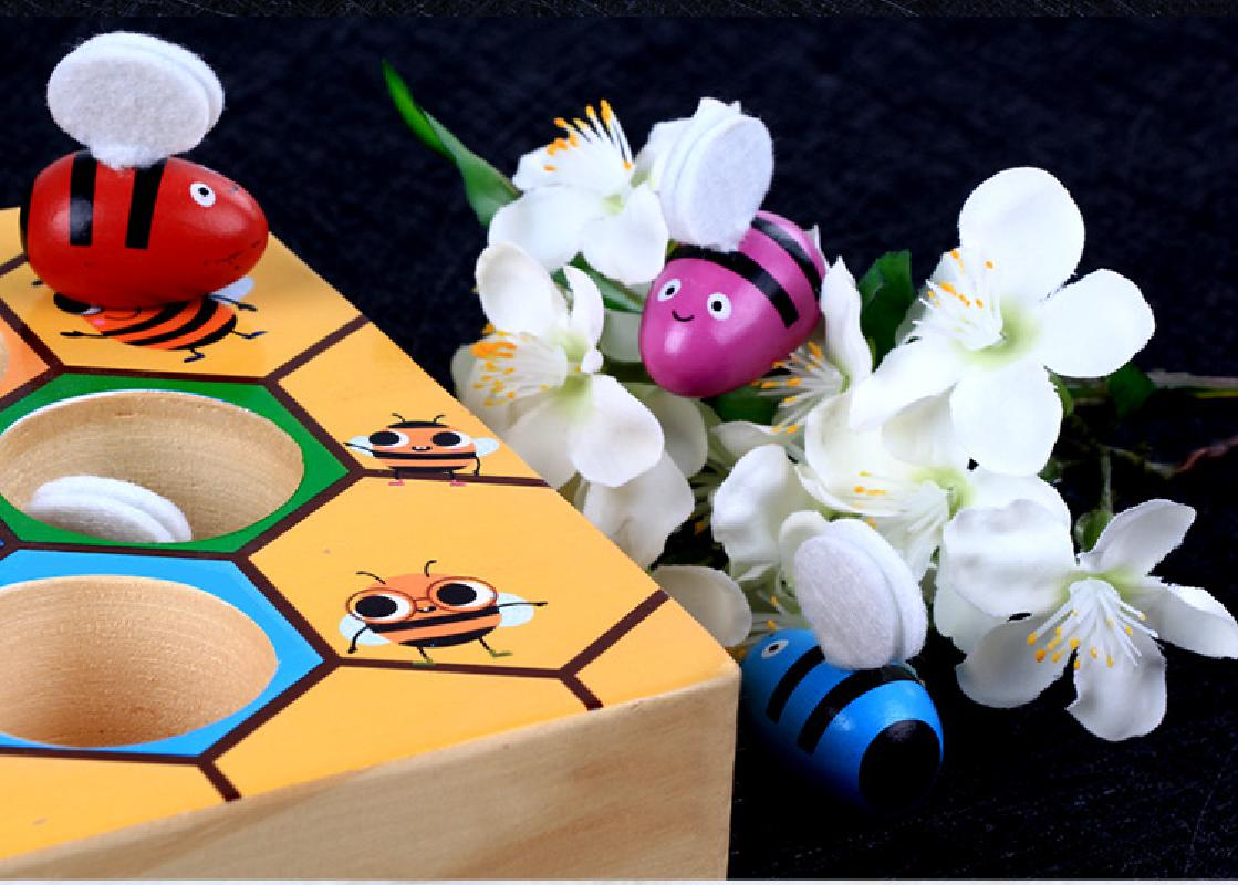 Montessori Educational Industrious little bees Wooden Toys for Kids Interactive Toys Beehive Game Board for Children Funny Toys 4
