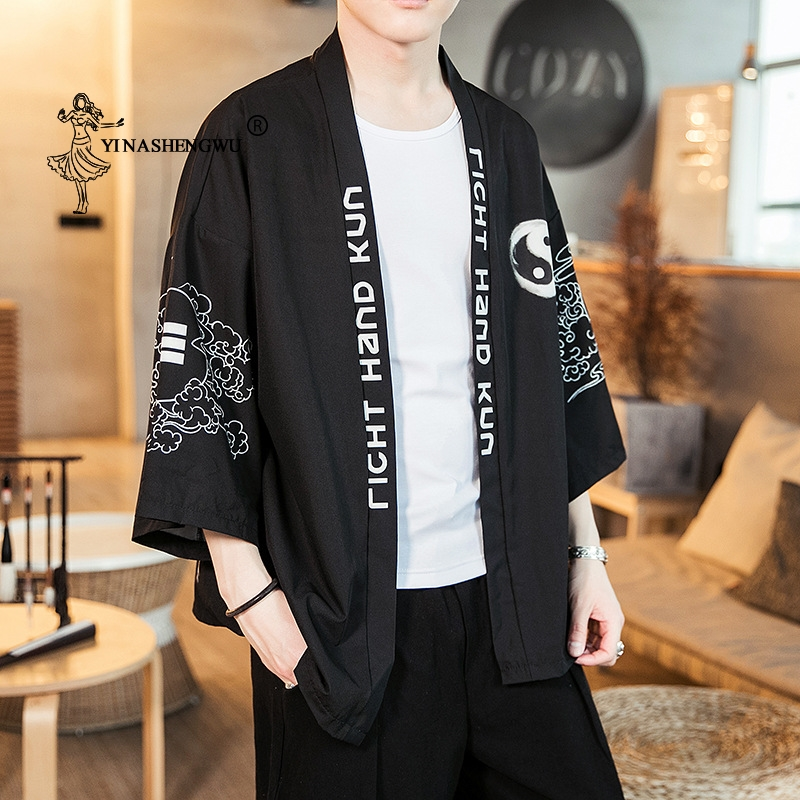 Casual Cardigan Shirt Kimono Cardigan Men Japanese Kimono Traditional Yukata Beach Thin Asian Clothes Japan Kimonos Male Jacket