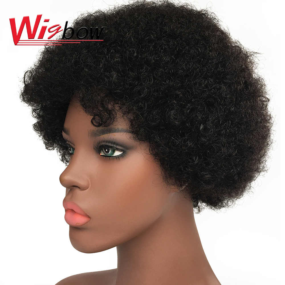 Afro Kinky Curly Wig Human Hair Wigs Remy Brazilian Hair Black Short Hair Curly Wig For Women Cheap Human Hair Wig With Bangs Full Machine Wigs Aliexpress