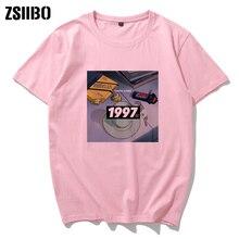 Camiseta Rosa Vintage triste Retro Anime ojos llorones Vaporwave ropa camisa de manga corta para hombres robot camisetas altas Harajuku Streetwear