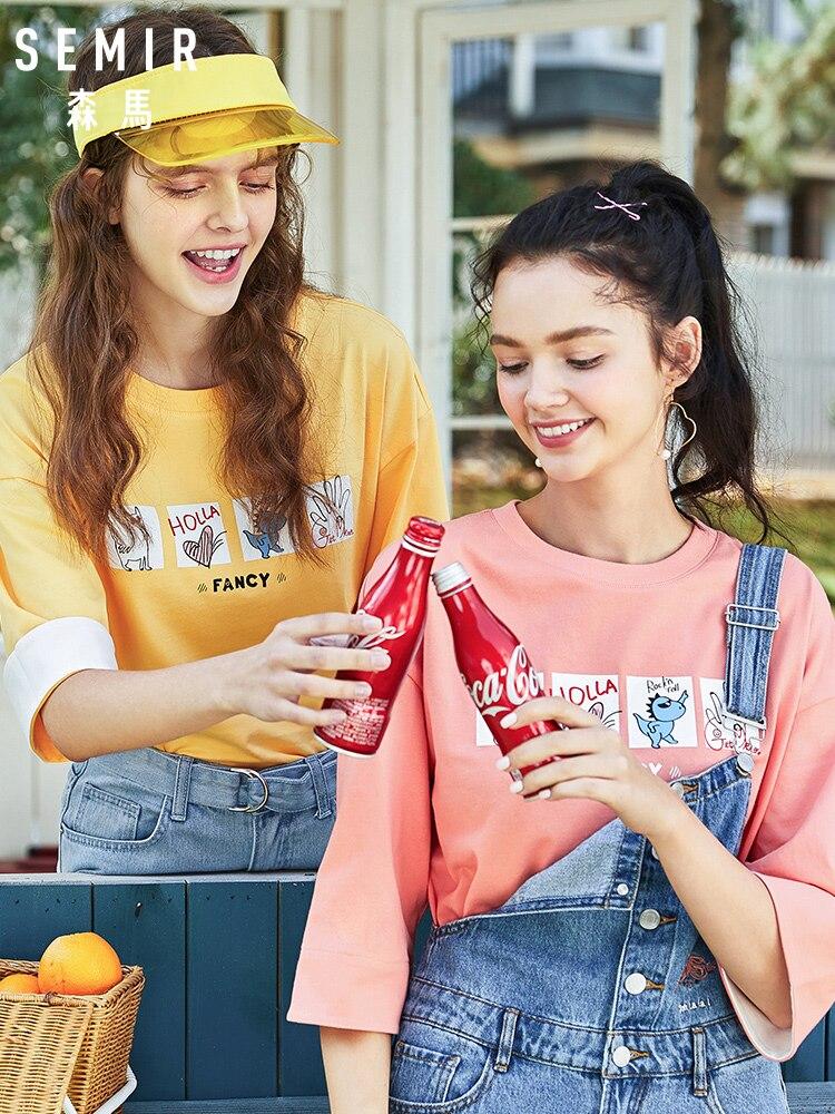 SEMIR T-shirt Women 2020 Spring New Trend Loose Fit Cotton Bottom Tshirt Fashion Tops O Neck Cotton Tshirt For Woman
