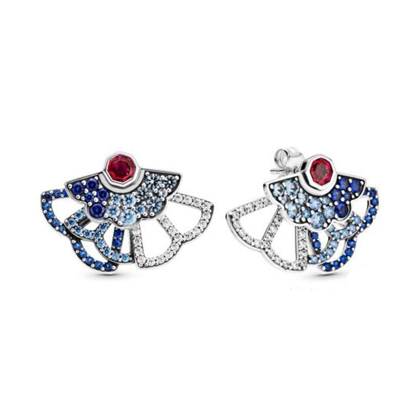 2020 New 925 Sterling Silver China Blue & Pink Fan Statement Stud Earrings Cubic Zirconia Stud Earrings Women Jewelry Gift