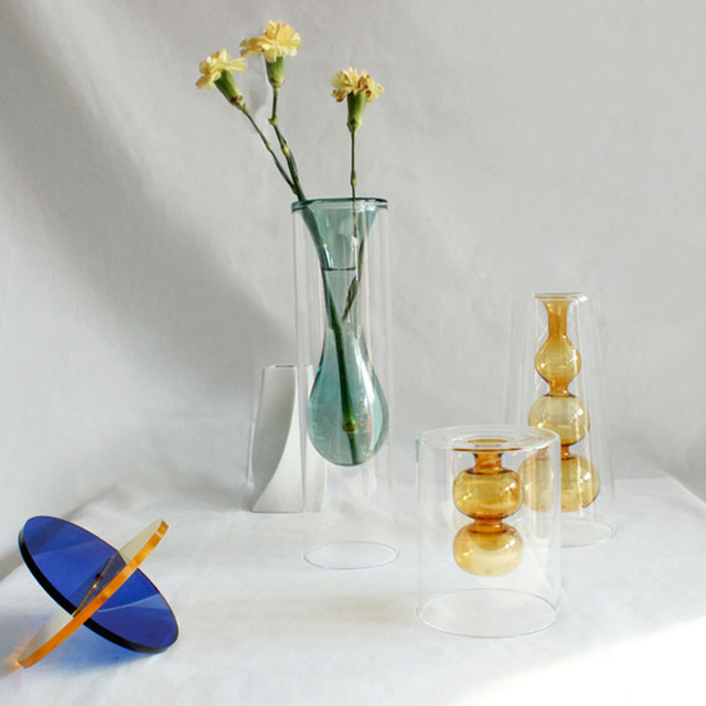 Strongwell Nordic Amber Hydroponic Double-Layer Glass Vase Ripple Vase Gourd Shape Dried Flower Vase Art Home Decoration Gift 3