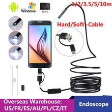 6LED USB Mini endoskop kamera 1/2/3.5/5/10m esnek sert kablo yılan Borescope muayene Android kamera akıllı telefon PC