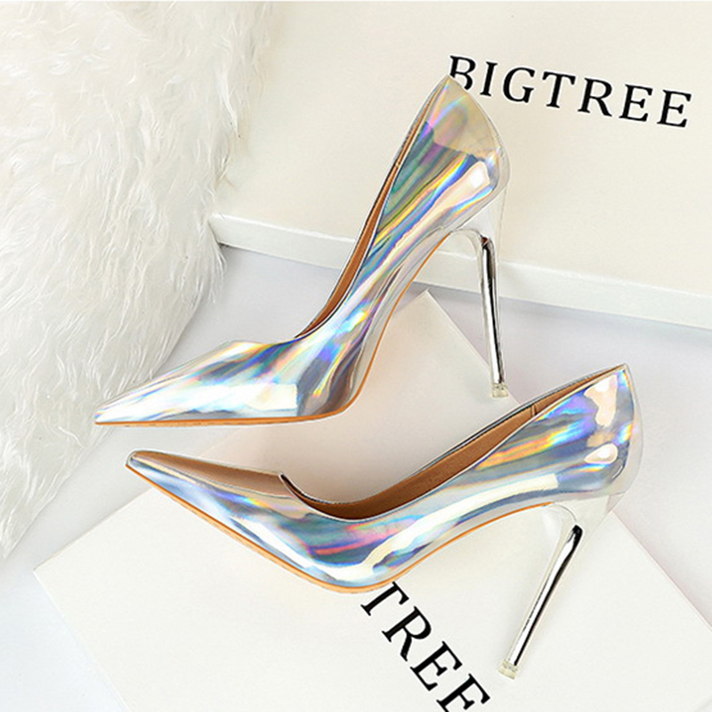 Metal Heel with High-heeled Shiny Patent Leather Shallow Mouth Pointed <font><b>Sexy</b></font> <font><b>Sexy</b></font> Nightclub Was Thin Heels Wedding <font><b>Shoes</b></font> Banquet image