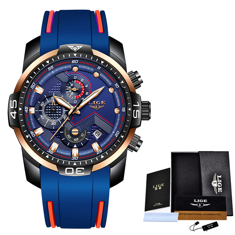 2020 LIGE Sport Watch Men Top Brand Luxury Chronograph Silicone Strap Quartz Mens Watches Waterproof Clock Relogio Masculino+Box 11