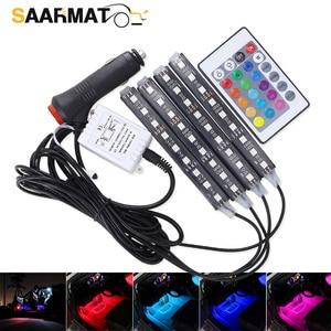 Image 1 - Bande lumineuse avec télécommande, 4 pièces, éclairage dambiance de voiture, rvb, LED, rampe déclairage à LED, LED couleurs, design décoratif, éclairage dintérieur de voiture, 12V