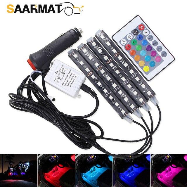 Bande lumineuse avec télécommande, 4 pièces, éclairage dambiance de voiture, rvb, LED, rampe déclairage à LED, LED couleurs, design décoratif, éclairage dintérieur de voiture, 12V