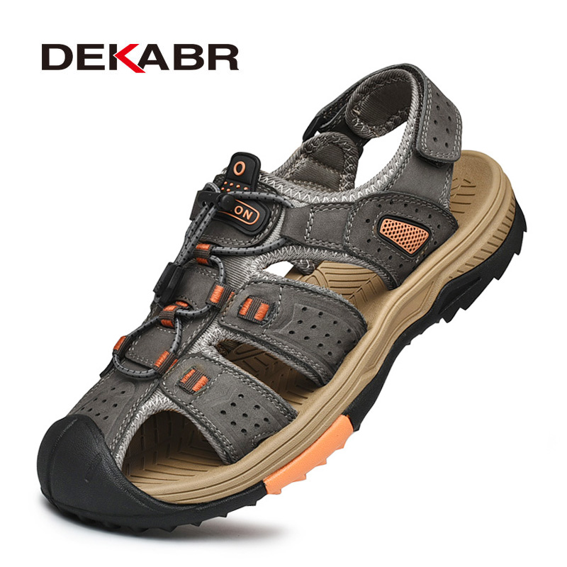 DEKABR Men Genuine Leather Sandals Summer Classic Men Shoes Slippers Soft Sandals Men Roman Style Comfortable Walking Footwear