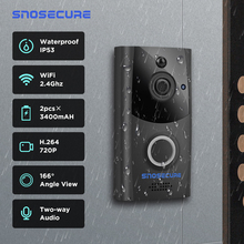 SNOSECURE visiophone étanche, sonnette wi fi, alarme, interphone vidéo sans fil pour porte de maison ou dappartement, avec batterie