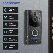 Snoseguro campainha intercomunicador, chamada de vídeo à prova d água wi fi sem fio para casa vídeo telefone da porta para apartamento bateria