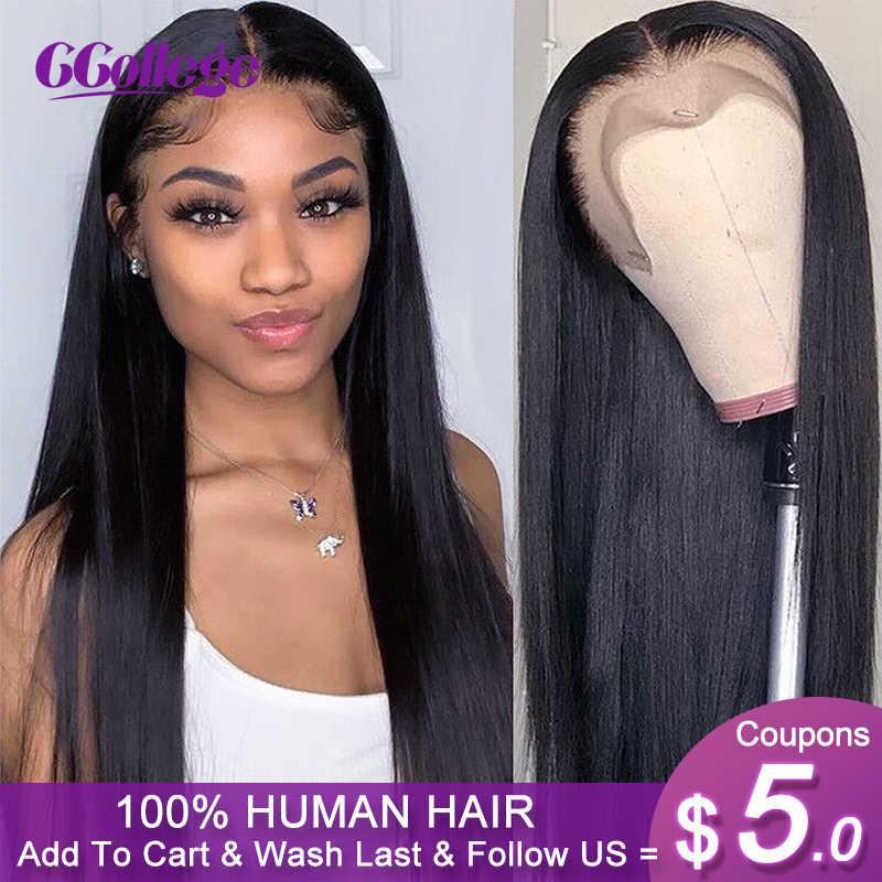 Ccollege düz dantel ön peruk brezilyalı Remy İnsan saç 13x4 dantel Frontal kapatma peruk kadınlar için ön koparıp bebek saç ile