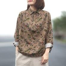 Johnature, осень 2019, новые винтажные рубашки для женщин, хлопковые льняные блузки с длинным рукавом и отложным воротником, свободные рубашки в китайском стиле