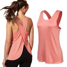 Женская рубашка для йоги, рубашка для тренажерного зала, быстросохнущие спортивные рубашки, топ для тренажерного зала с перекрестной спино...