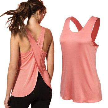 Yoga Shirt Women Gym Shirt Quick Dry Sports Shirts Cross Back Gym Top Women's Fitness Shirt Sleeveless Sports Top Yoga Vest 1