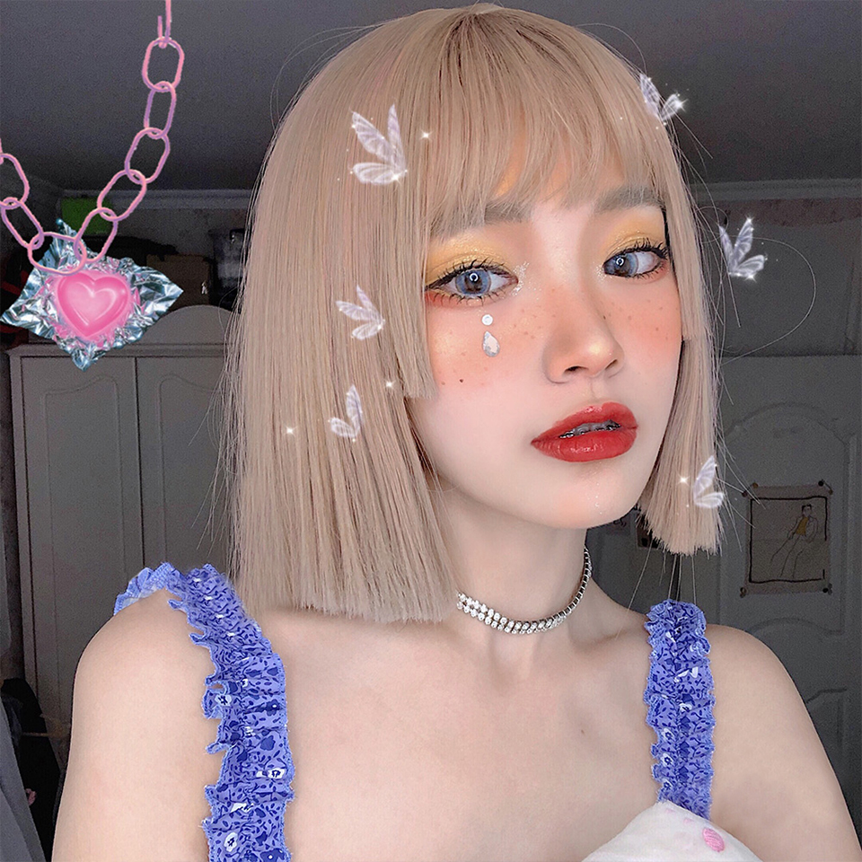 MEIFAN Lolita Cosplay High Temperature Fiber Synthetic Short Straight Hair With Princess Cut Bangs Party Natural Cute Wig