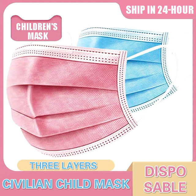 Children Face Masks 3 Layer Elastic Mouth Mask Kids Disposable Mask Soft Breathable Pm2.5 Nonwoven Blue Pink White Boys Girls 1