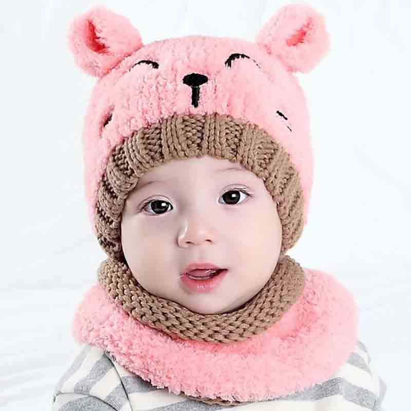 Children's Knitted Hat Plus Velvet Scarf Korean-style Cute Baby Girls And Boys Two-Piece Set Wool Cap Bear Warm Set Of Head Cap