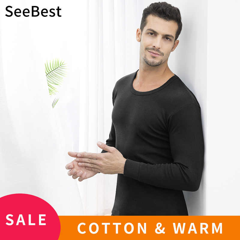 SeeBest Long Johns Men Thermal Underwear Set Male Cotton Winter Warm Suit Inner Wear Clothing thermo Husband Teenager M 4XL