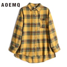 AOEMQ Casual Shirts Gelb Plaid Patchwork Strickjacke mit einreiher Taste Bluse Outwear Shirts Frauen Tops Kleidung(China)