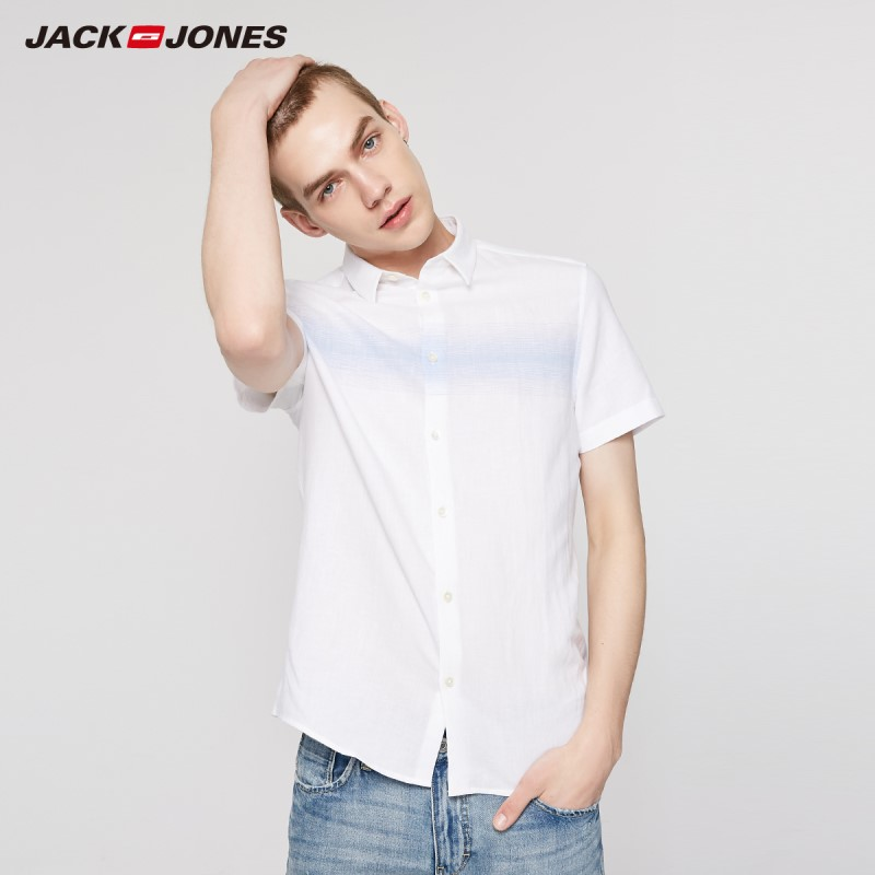 JackJones Men's Spring & Summer Cotton Linen Stripe Spliced Short-sleeved Basic Shirt | 219204522
