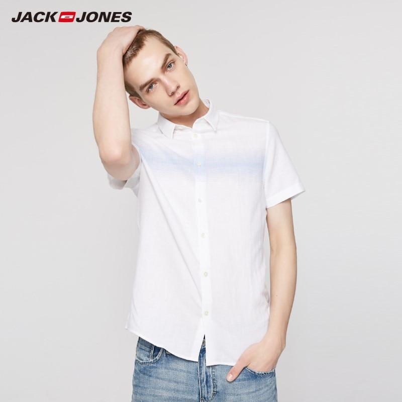 JackJones Men's Spring & Summer Cotton Linen Stripe Spliced Short-sleeved Basic Shirt | 219204522