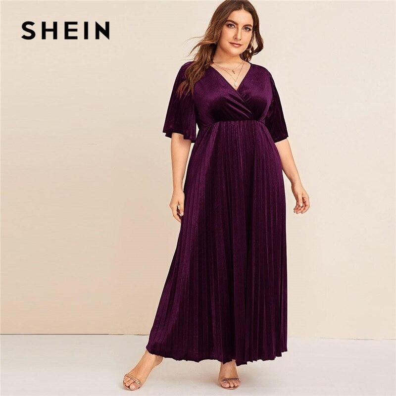SHEIN Plus Size Flutter Sleeve Pleated Velvet Dress Women Autumn Winter V Neck A Line Empire Glamorous Party Maxi Dresses 1