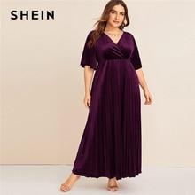 SHEIN Plus Größe Flattern Sleeve Plissee Samt Kleid Frauen Herbst Winter V ausschnitt EINE Linie Reich Glamorous Party Maxi Kleider