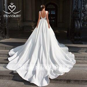 Image 3 - Elegant V neck Satin Wedding Dress Swanskirt F101 Crystal Belt Backless A Line Court Train Princess Bridal Gown Vestido de novia