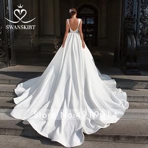 Image 3 - Zarif v yaka saten düğün elbisesi Swanskirt F101 kristal kemer Backless A Line mahkemesi tren prenses gelin kıyafeti Vestido de novia