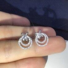 Women's Luxury 925 Sterling Silver Shine Zircon Stud Earrings Unique Design Hollow Personality Earrings New Trendy Jewelry Gift