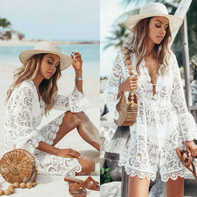 Women Sheer Bikini Cover Up Swimwear Sexy Lace Floral Swimsuit Bathing Suit Casual Loose Solid Summer Female Short Beach Dress
