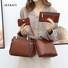 Fashion Womans HandBag 4 Pcs/set PU Leather Composite Bag Handbag Woman Shoulder Bags Totes Female Crossbody 5657