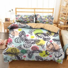 Duvet Cover Bedding Set Butterfly Printed Bedroom Clothes Home Textiles Cute Cartoon Bed Linens King Single Size
