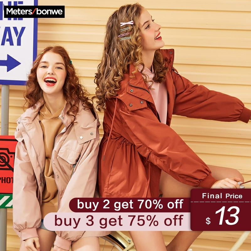 Metersbonwe New Fashion Trench Female Hooded Windbreaker Women Spring Casual Trench Lady Coat Trend Tooling Outwear