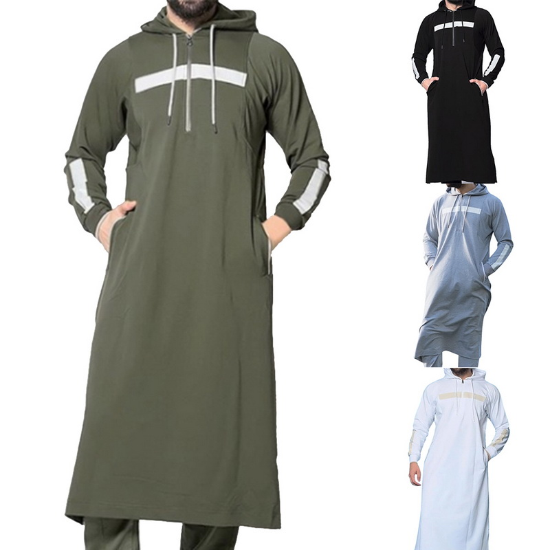 PUIMENTIUA 2019 Muslim Robe Hoodies Dressing Mens Saudi Arab Long Sleeve Thobe Jubba Thobe Kaftan Long Islamic Man Clothing