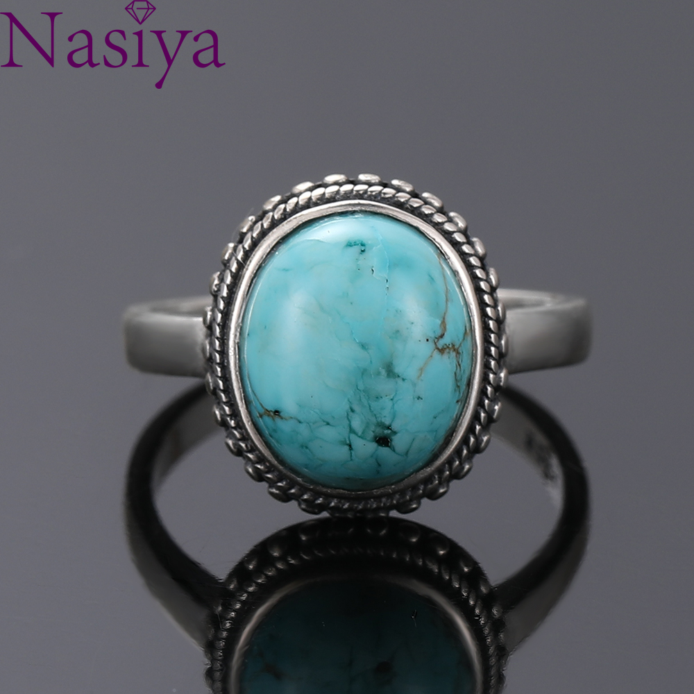 Nasiya Elegant Simple Oval Turquoise Rings for Women Girls 925 Sterling Silver Fine Jewelry Anniversary Engagement Party Gift