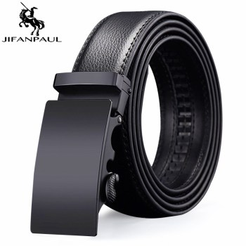 JIFANPAUL men automatic mens belts wide leather belt direct supply black genuine luxury brand